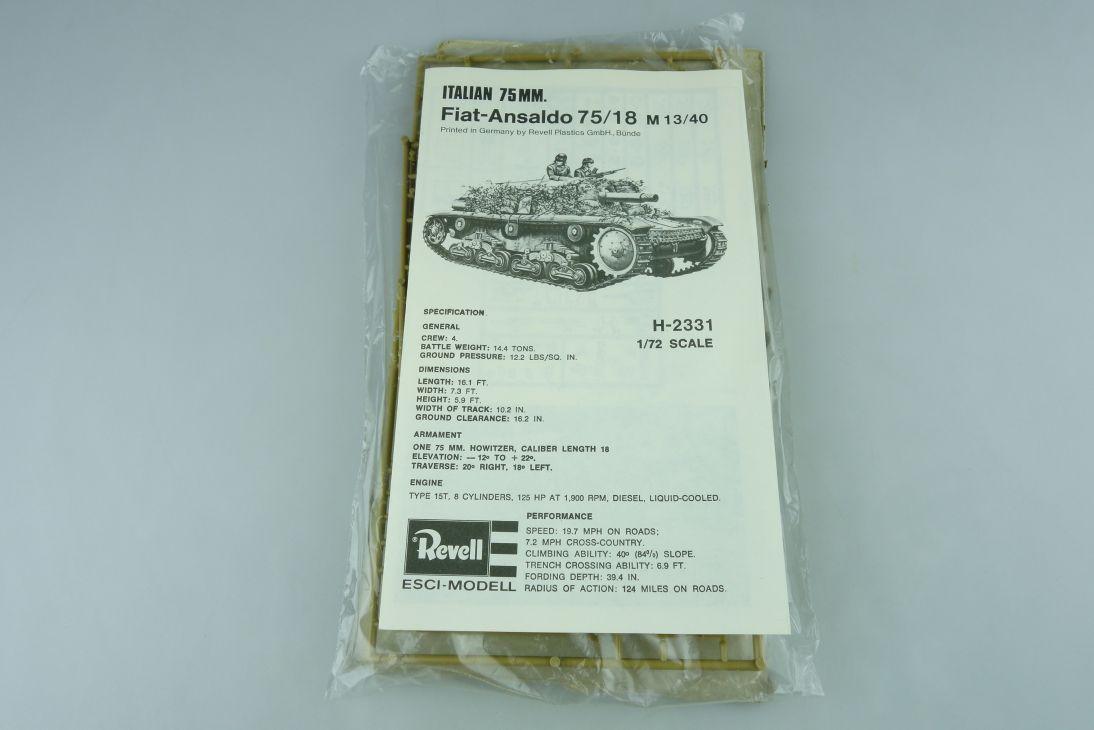 Revell Italian 1/72 75mm Fiat-Ansaldo 75/18 M13/40 H-2331 kit 108648