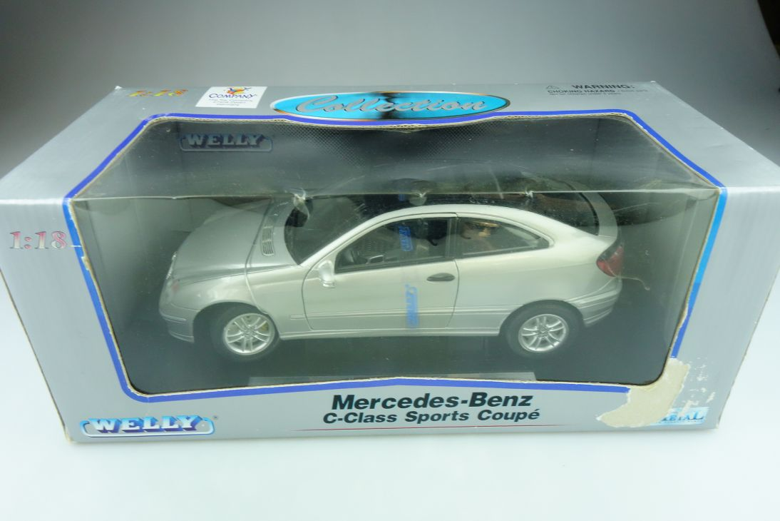 Welly 1/18 Mercedes Benz C Class Sports Coupe C 203 silver mit Box 511705