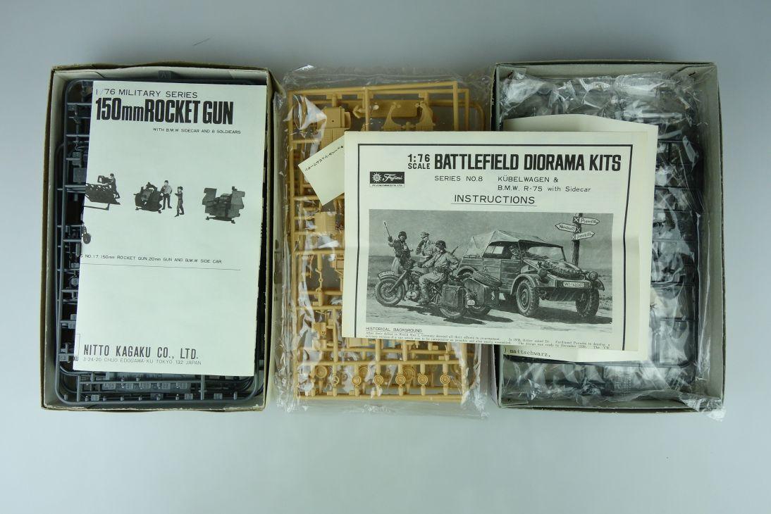 Fujimi/Nitto 1/76 Rocket Gun/ BMW/ FLAK 20mm/ Kübelwagen Konvolut kit 108734