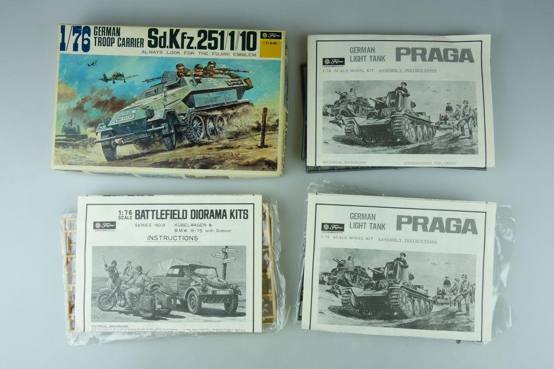 Fujimi 1/76 Sd.Kfz.251/1//10/ Praga Tank/ BMW + Kübelwagen Konvolut kit 108735