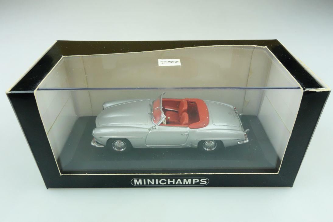 33131 Minichamps 1/43 Mercedes Benz 190 SL Roadster W 121 silver mit Box 511760