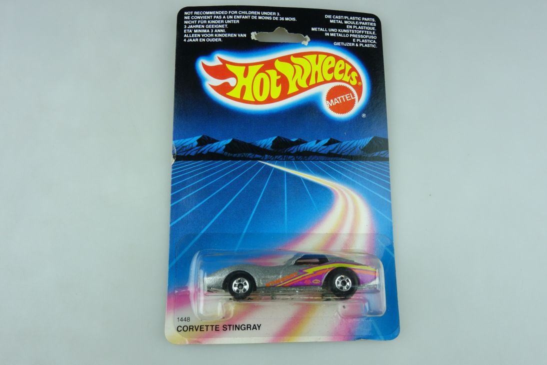 1448 Hot Wheels 1/64 Chevrolet Corvette Stingray Malaysia 1986 mit Box 511916