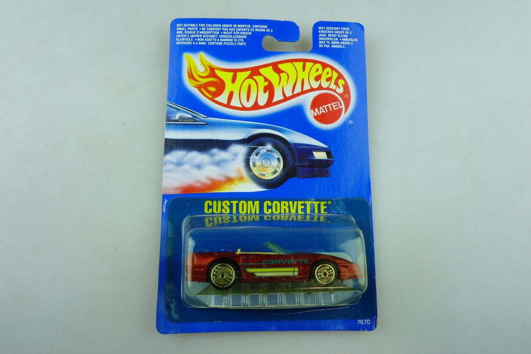 7670 Hot Wheels 1/64 Chevrolet Custom Corvette Malaysia 1989 mit Box 511923