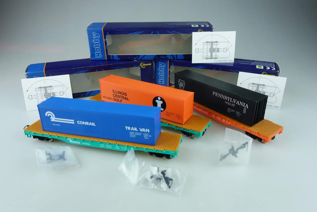 Mehano H0 DC 3xWagon Konvolut PRR/CONRAIL/ICG flat car with container PTA 108909