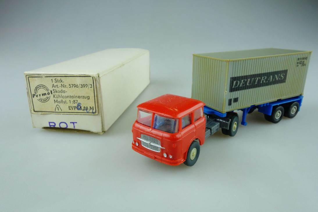 Permot Hruska H0 Skoda Deutrans Container Lastzug altes FH + Box 108935