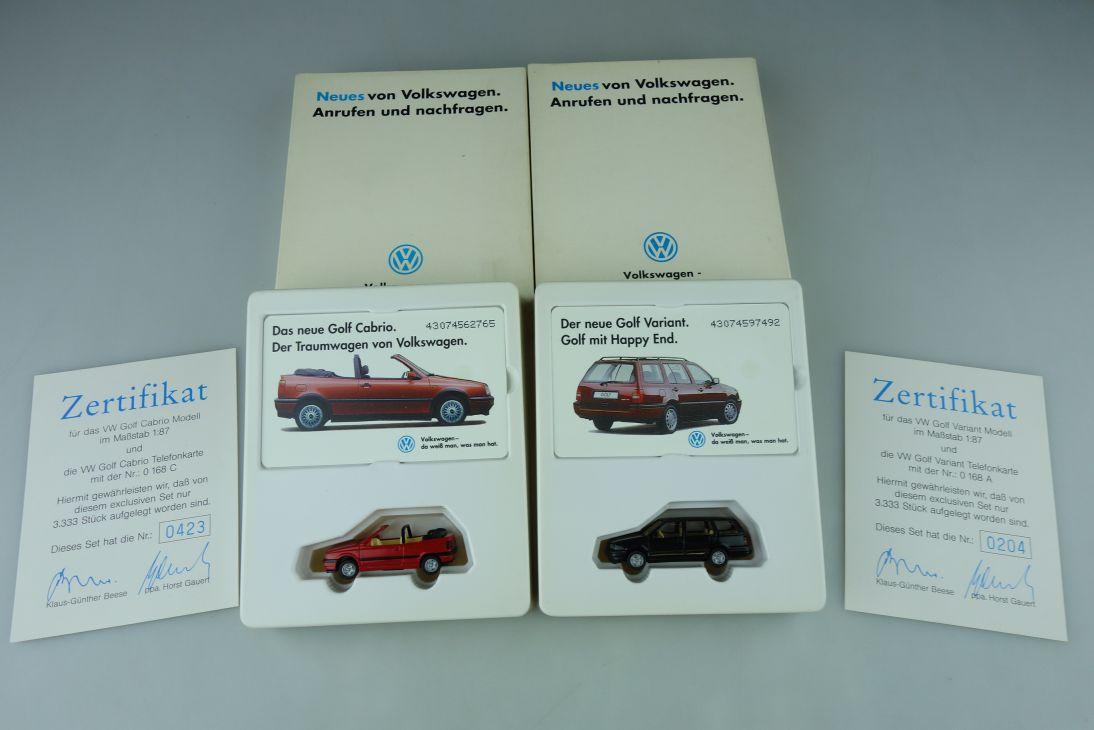2x Wiking Set H0 Volkswagen Golf Cabrio + Variant mit Telefonkarte + Box 109027