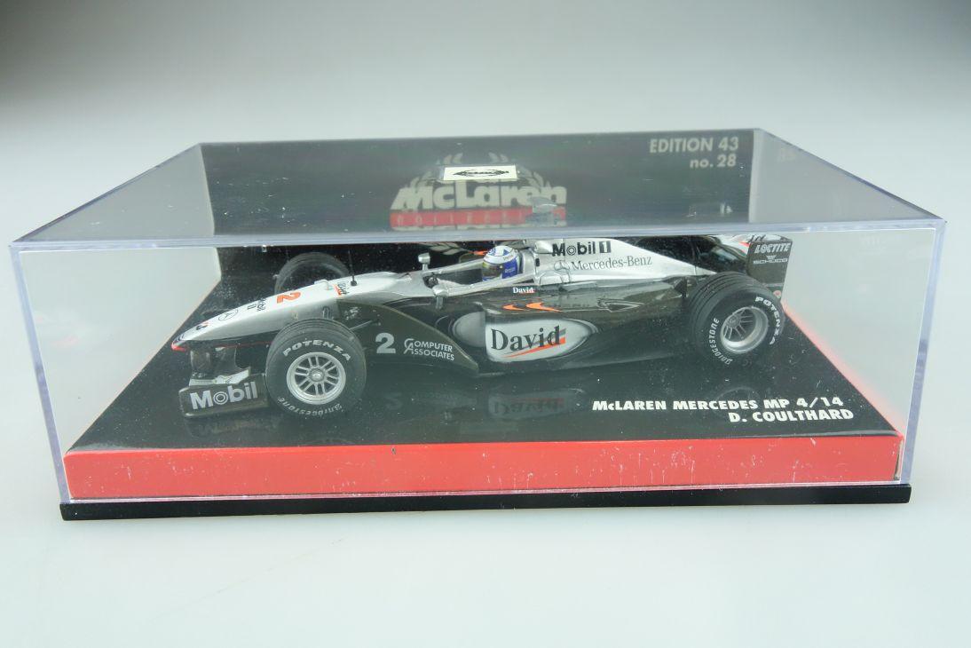 28 Minichamps 1/43 Mc Laren Mercedes MP 4/15 Formel 1 D.Coulthard mit Box 512146