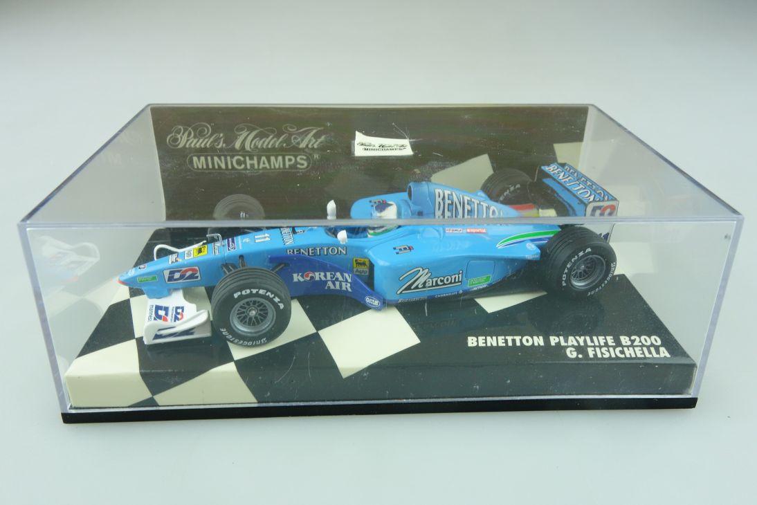 Minichamps 1/43 Benetton Playlife B 200 G.Fisichella Formel 1 mit Box 512166
