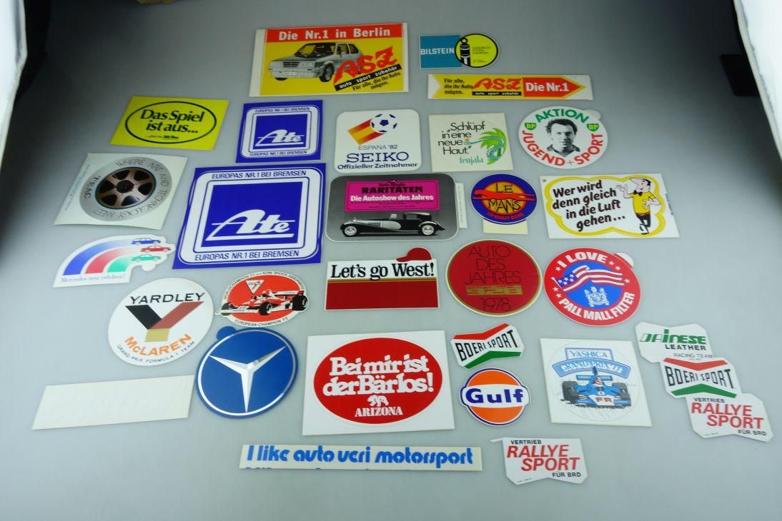 28x alt 70/80er Aufkleber Sticker BP West HB Pall Mall Le Mans Castrol 109078