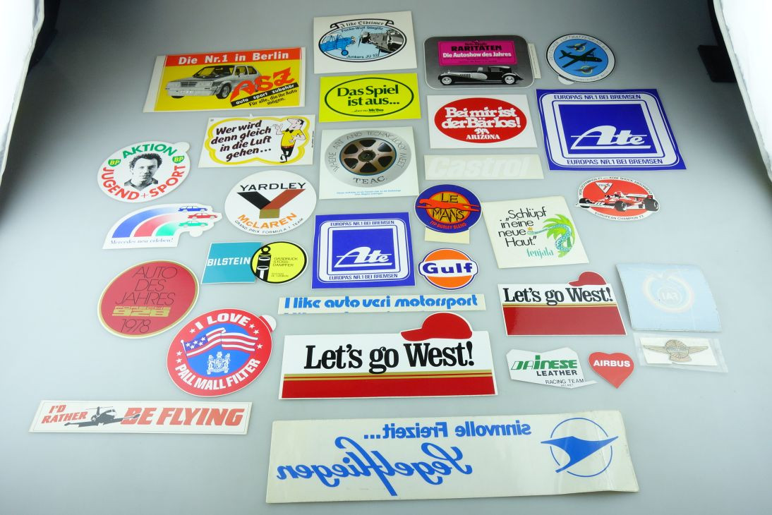30x alte 70/80er Aufkleber Sticker BP West HB Pall Mall Le Mans Castrol 109079