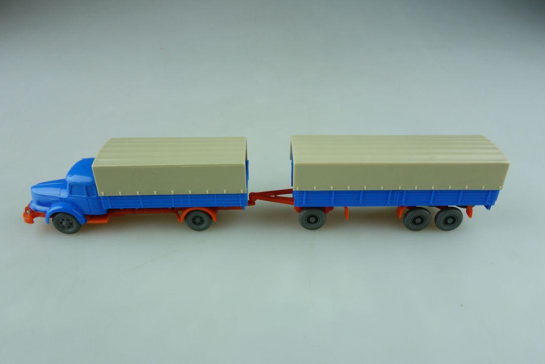 Saure 163 Wiking 1/87 Krupp Titan Pritsche mit Anhänger 529 ohne Box  512257