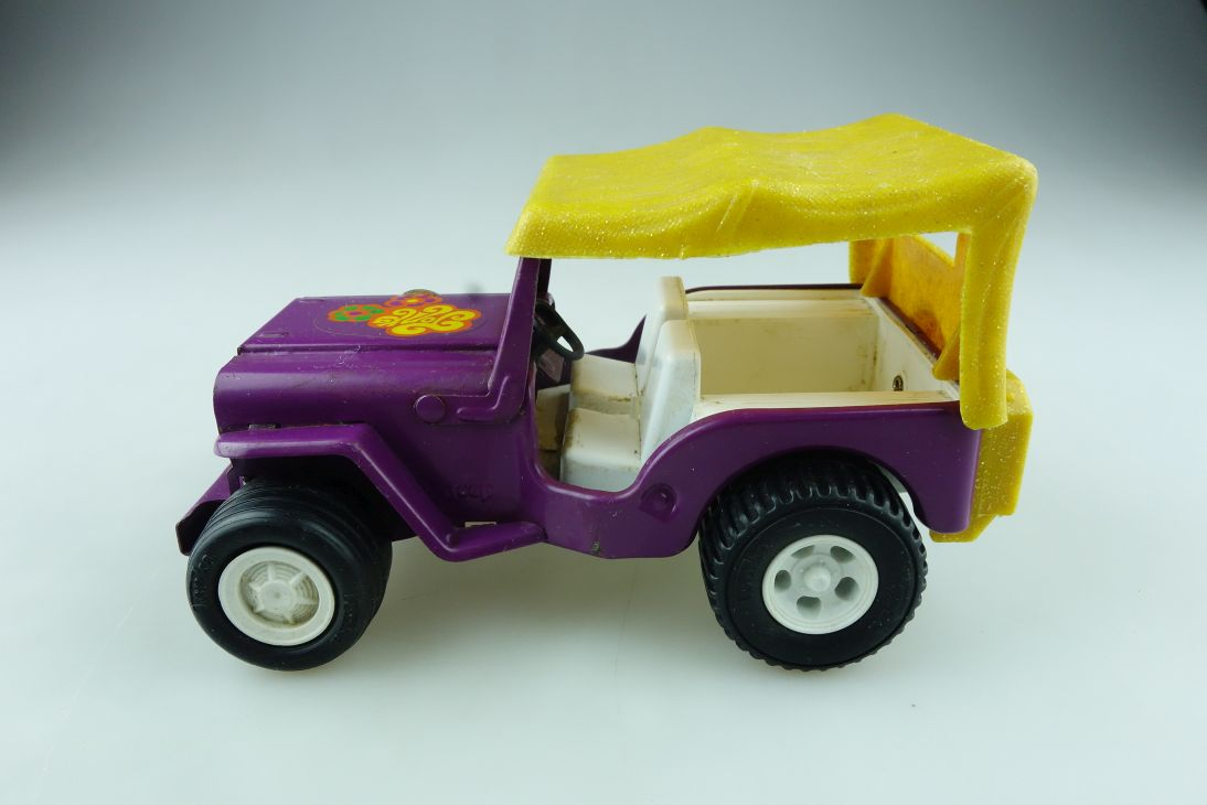 Tonka ca. 1/18 Willys Jeep Flower Power sixties Vintage Blech ohne Box 512282