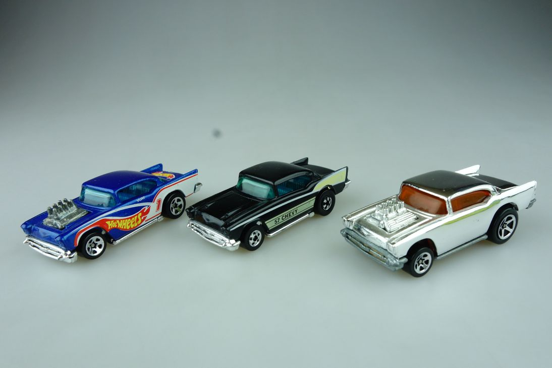 3x Hotwheels 57´ Chevy Malaysia HongKong 1976 Chevrolet Mattel 109104