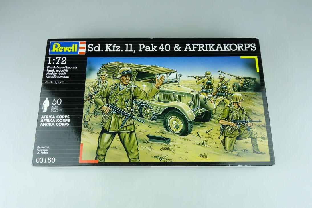 Revell 1/72 sd.Kfz. 11, PAK 40, BMW R 75 & Afrikakorps 03150 modelkit OVP 109178