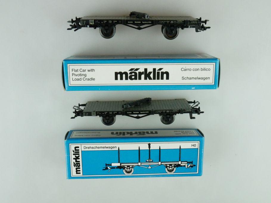 2x Märklin H0 AC 4684 Drehschemelwagen der DRG EP II + Box PTa 109375