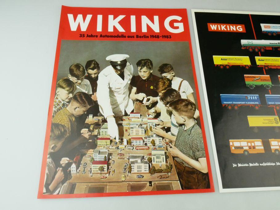 Wiking 2x Werbeblatt 35 Jahre Automodelle 1948-1983 + Lkw Trucks Din A4 109396