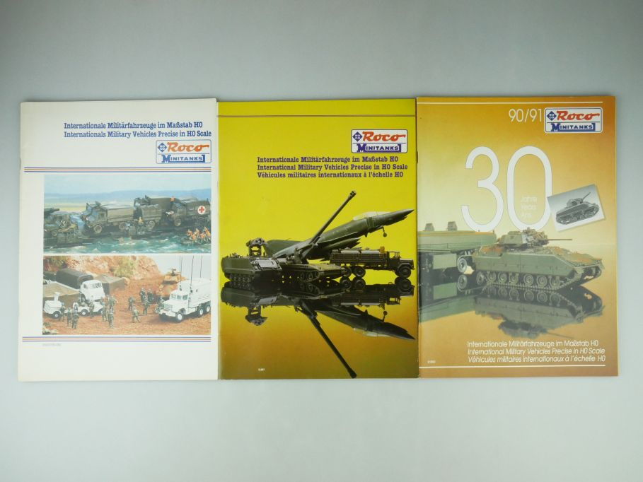 3x Roco Minitanks H0 1/87 Prospekt Katalog 1983 1987 1990/91 30 Jahre 109579