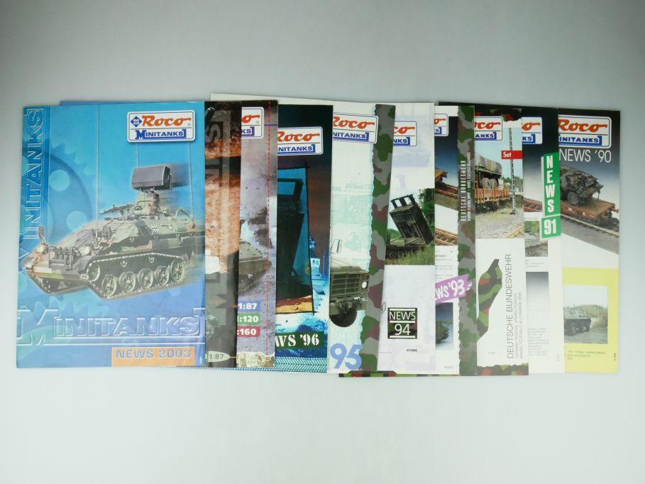10x Roco Minitanks 1/87 Neuheiten 1990-1999 (ohne 97) + 2003 news Katalog 109584