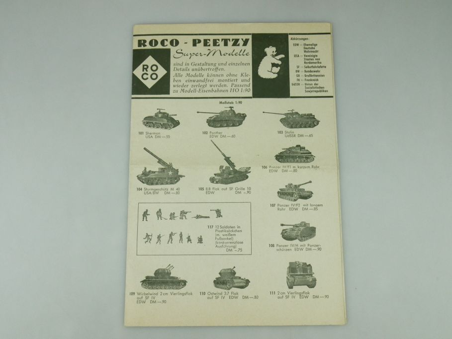 Peetzy Roco Supermodelle H0 1964? Faltblatt Katalog Prospekt Minitanks 109590