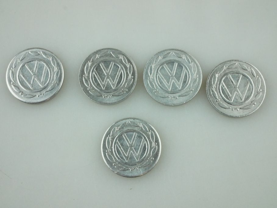 5x Volkswagen Münzen token 50 Jahre VW Käfer 16mm Alu 109454