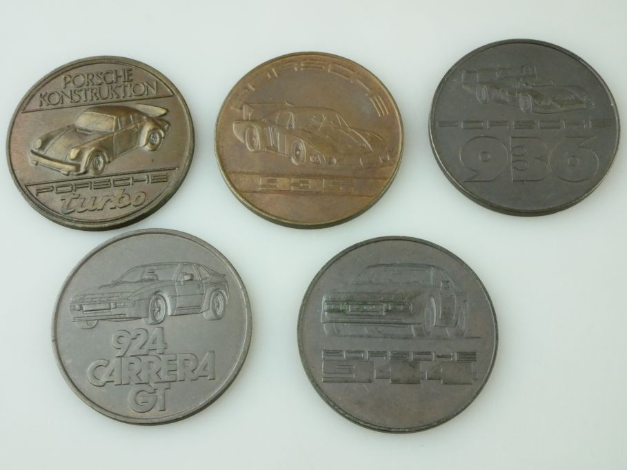 5x Porsche Medaille 1976 1979-1982 medal turbo 924 carrera GT 935 936 944 109455