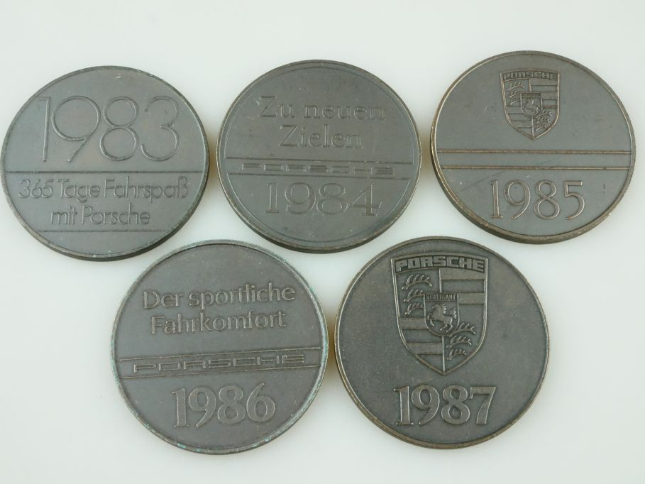 5x Porsche Medaille 1983-1987 medal 911 SC Cabrio 928S4 944 turbo 956 959 109456