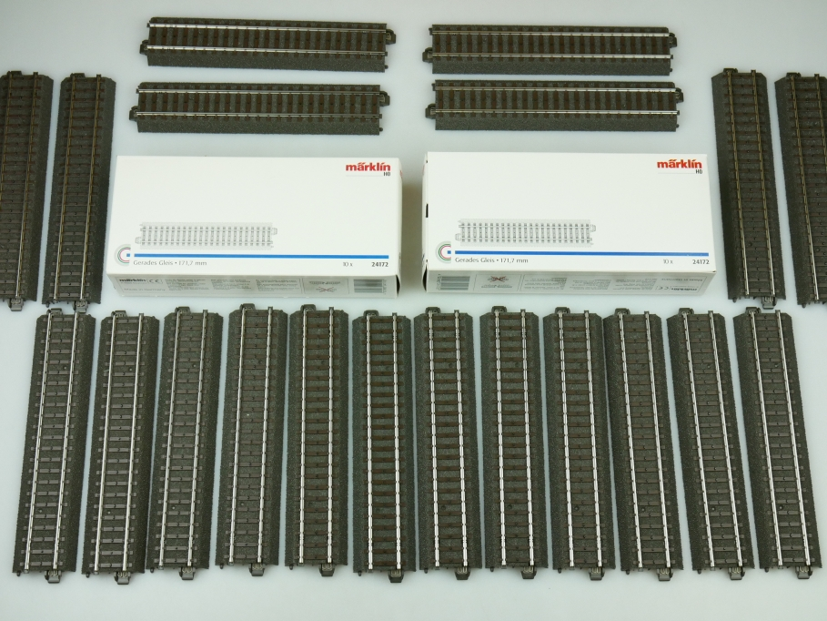 Märklin H0 AC Gerades C-Gleis 24172 unbenutzt 20x OVP PTA 109475
