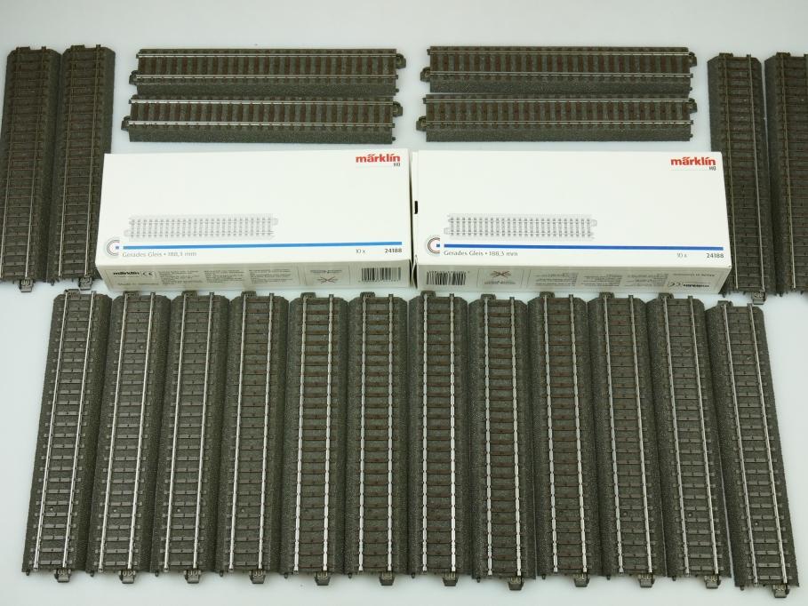 Märklin H0 AC Gerades C-Gleis 24188 unbenutzt 20x OVP PTA 109476