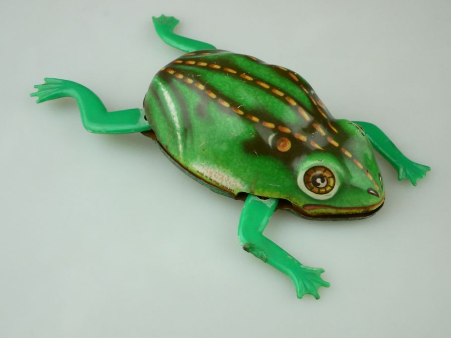 Antik Blech Frosch tin toy frog friction vintage Made in Western Germany 109496