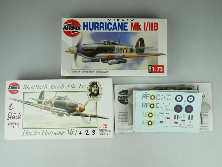 Airfix 1/72 Konvolut 3x Hawker Hurricane Mk1 teilweise OVP plane kit 109480