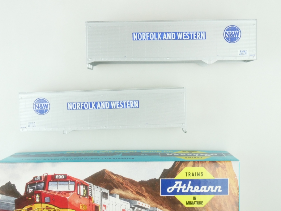 Athearn H0 05154 40 ft Trailer Set (2) N&W Kit Bausatz + Box PTa 109435