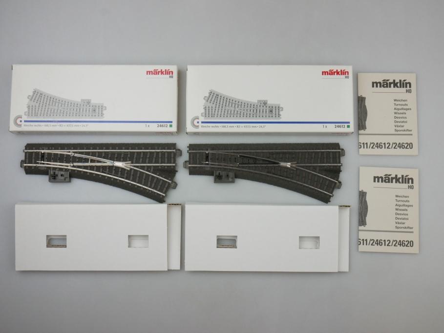 Märklin H0 AC 2x C-Gleis Weiche rechts 24612 neuwertig OVP PTA 109516