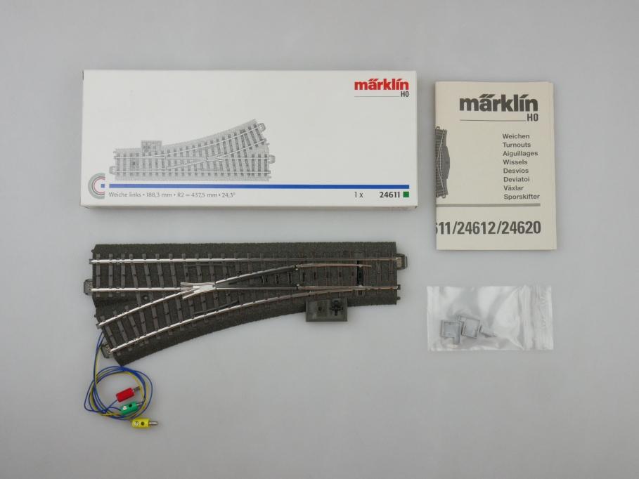 Märklin H0 AC C-Gleis Weiche links mit Antrieb 24611 + 74490 OVP PTA 109518