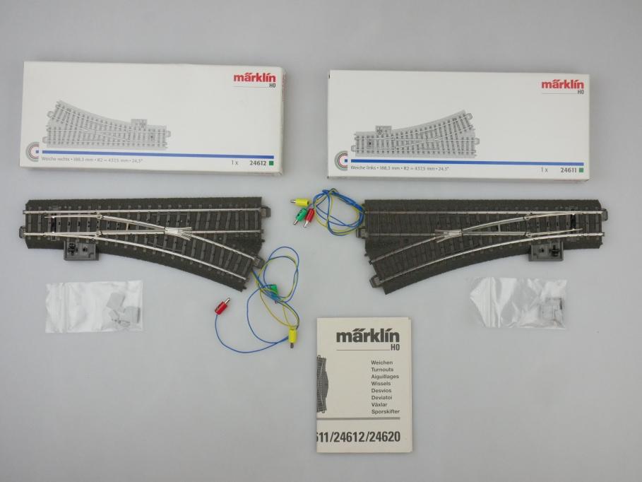 Märklin H0 AC C-Gleis Weichenpaar mit Antrieb 24611/12 + 74490 OVP PTA 109519