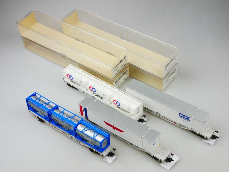 Fleischmann, Albedo, Con-Cor H0 5246 Container-Tragwagen Konvolut PTA 109682