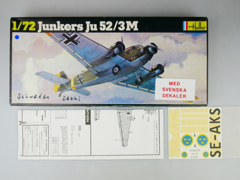 Heller 1/72 Junkers Ju 52/3M + Schweden Decal No 380 plane model kit OVP 109719