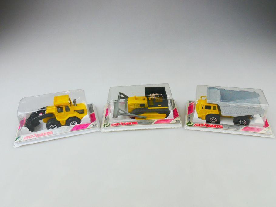 3x Majorette 263 front end loader 287 Bulldozer 274 dump truck metal Box 109800