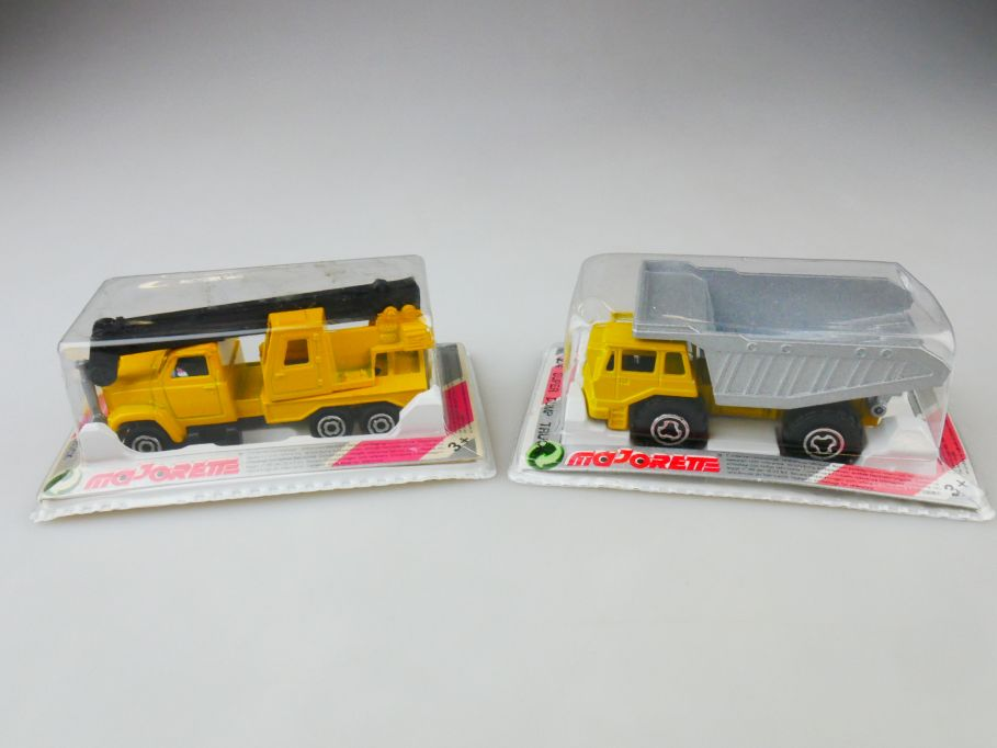 2x Majorette 283 crane truck 274 dump truck metal Box 109801
