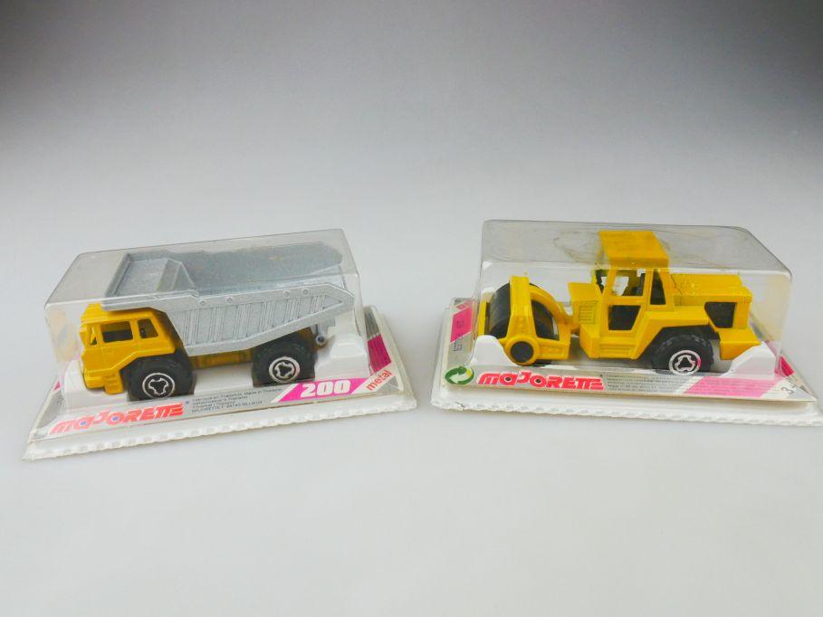 2x Majorette 226 Strassen Roller 274 dump truck metal Box 109802