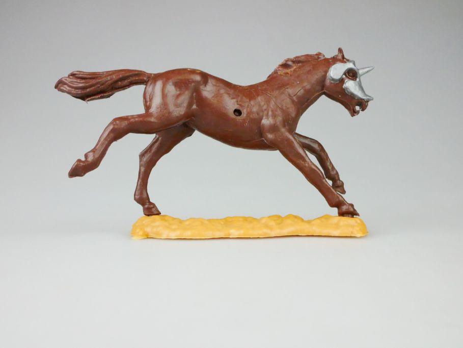 Timpo Ritter Pferd braun mit Stirnpanzer knight horse 109912