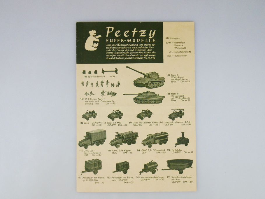 Peetzy Roco H0 1962 Katalog Faltblatt 4S 101 bis 151 Minitanks 109976