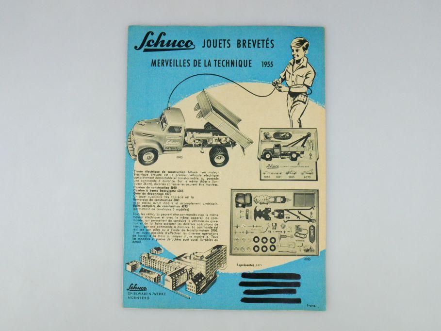 Schuco 1955 French Faltblatt Katalog Blechspielzeug tin toy rare catalog 109980
