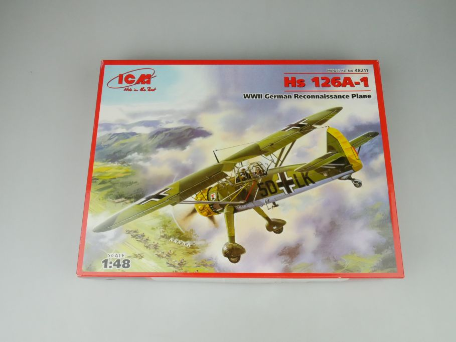 ICM 1/48 Hs 126A-1 WWII German Raconnaissance Plane No 48211 kit OVP 109988