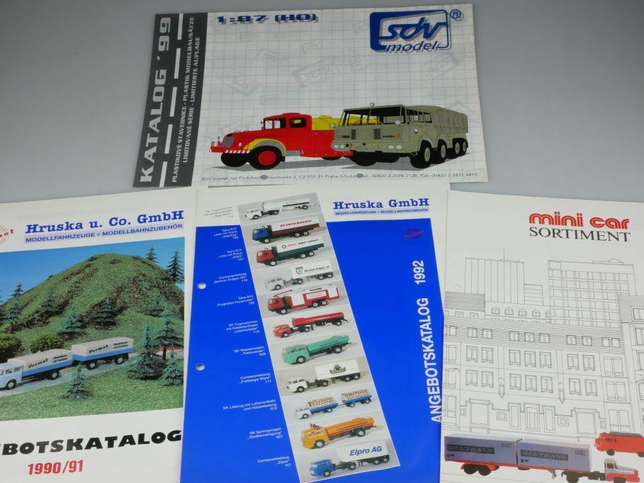 4x Faltblatt H0 TT mini car Hruska Permot 1990-92  sdv model 1999 Katalog 110119