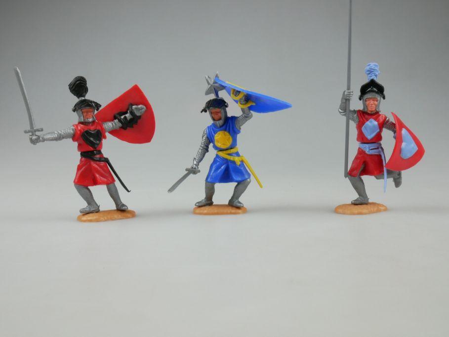 Timpo 3x Visier Helm Ritter zu fuß 1x blau 2x rot knights 110235