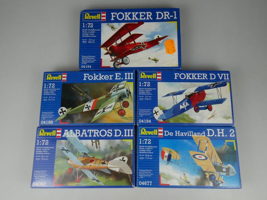 5x Revell 1/72 Albatros D.III DH2 Fokker E.III D VII DR-1 prop kit Box 110301