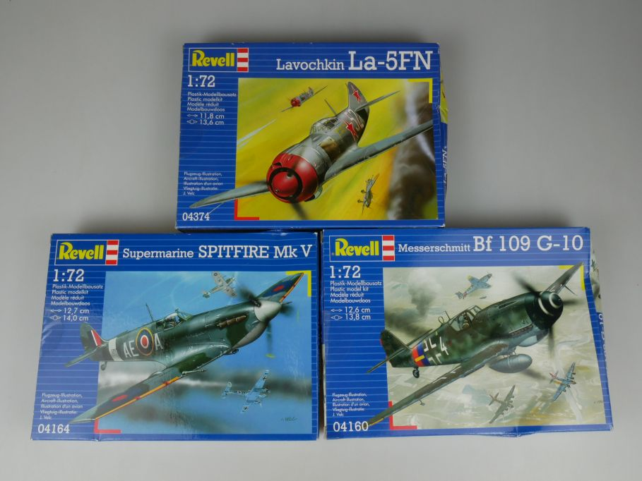 3x Revell 1/72 Messerschmitt BF109 G10 Spitfire Mk V Lavochkin La-5FN kit 110308
