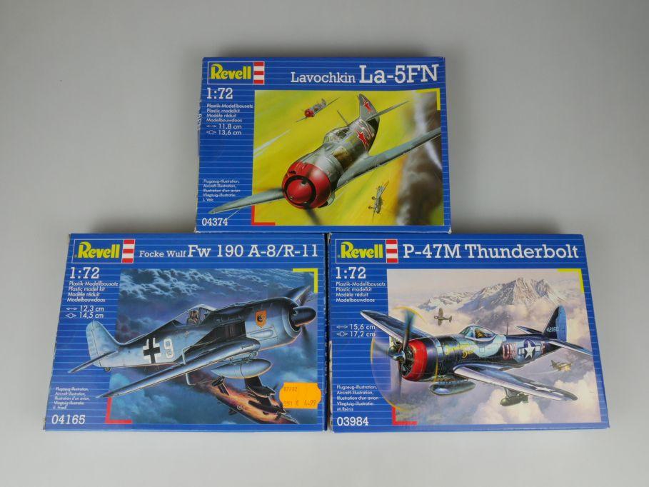 3x Revell 1/72 Focke Wulf FW 190 A-8 R-11 P-47M Thunderbolt Lavochkin kit 110310