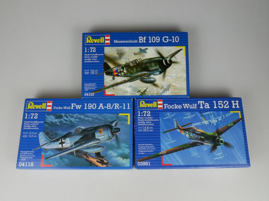 3x Revell 1/72 Focke Wulf Focke Wulf FW190 A-8 Me Bf 109 G-10 Ta 152H kit 110312