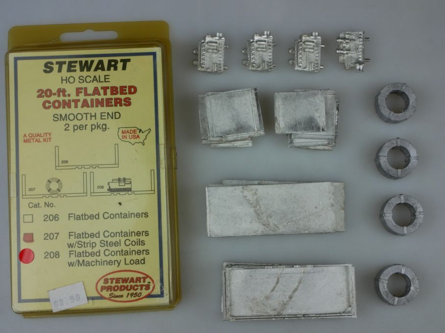 Stewart H0 kit Flatbed Container 207 208 strip steel coils machinery load 110371